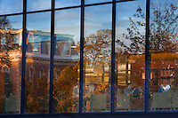 The Lafayette College Campus reflects in the windows of the Skillman LIbrary ( Used in Presidents Report.Scenic.Abstract.Quad.Pardee..4273
