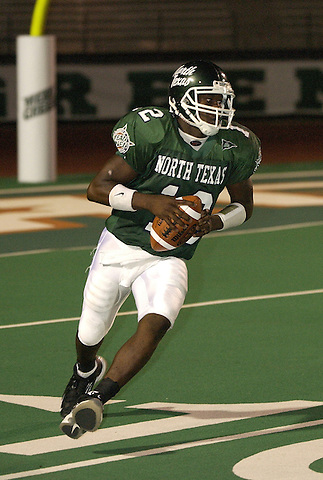 DENTON, TX SEPTEMBER 7:  Andrew Smith #12 - North Texas Mean Green Football vs Nicholls State University Colonels in Denton at Fouts Field on September 7, 2002 in Denton, TX. Photo by Rick Yeatts
