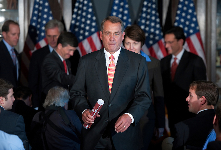 UNITED STATES - OCTOBER 12:  Speaker John Boehner, R-Ohio, concludes a news conference at the RNC after a meeting with the House Republican Caucus.  They discussed the failure of President Obama's job bill in the Senate among other matters related to job creation.  Behind him from left are, Rep. Dave Camp, R-Mich., House Majority Leader Whip Kevin McCarthy, D-Calif., Conference Chair Jeb Hensarling, R-Texas, Vice Chair Cathy McMorris Rodgers, R-Wash., and House Majority Leader Eric Cantor, R-Va. (Photo By Tom Williams/Roll Call)