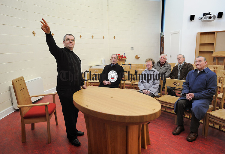 PP Fr Tom Ryan with members of the Adoration Committee; Mark Mc Donnell, Kay Glody, Seamus Mc Evoy, Tom Kearney and Eddie Jones in the new Skycourt Oratory at Shannon, which is due to open on December 8th. Photograph by John Kelly.