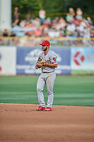 Max Schrock (56) of the Memphis Redbirds on defense against the Salt Lake Bees at Smith's Ballpark on July 24, 2018 in Salt Lake City, Utah. Memphis defeated Salt Lake 14-4. (Stephen Smith/Four Seam Images)