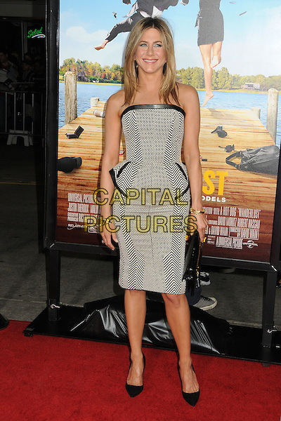 "Jennifer Aniston.""Wanderlust"" Los Angeles Premiere held at the Regency Village Theatre, Westwood, California, USA..February 16th, 2012.full length dress peplum clutch bag black leather strapless white zig zag print check.CAP/ADM/BP.©Byron Purvis/AdMedia/Capital Pictures."
