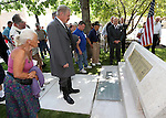 Supporters view a new plaque that was unveiled on the USS Nevada memorial following a ceremony honoring the Centennial of Launch at the Capitol, in Carson City, Nev., on Friday, July 11, 2014. (Las Vegas Review-Journal/Cathleen Allison)