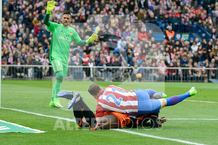 Atletico de Madrid's Kevin Gameiro and Valencia CF's Diego Alves and Eliaquim Mangala during La Liga match between Atletico de Madrid and Valencia CF at Vicente Calderon Stadium  in Madrid, Spain. March 05, 2017. (ALTERPHOTOS/BorjaB.Hojas)