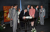 United Nations Conference on Environment and Development, Rio de Janeiro, Brazil, 3rd to 14th June 1992. Earth Summit: John Major signing the Climate Change Convention on behalf of the United Kingdom with Environment Secretary Michael Howard.