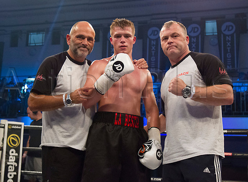 1st September 2017, York Hall, London, England; Matchroom Boxing, JD NXT GEN LONDON; William Webber Versus Sonny Whiting; William Webber celebrating his professional debut win against Sonny Whiting