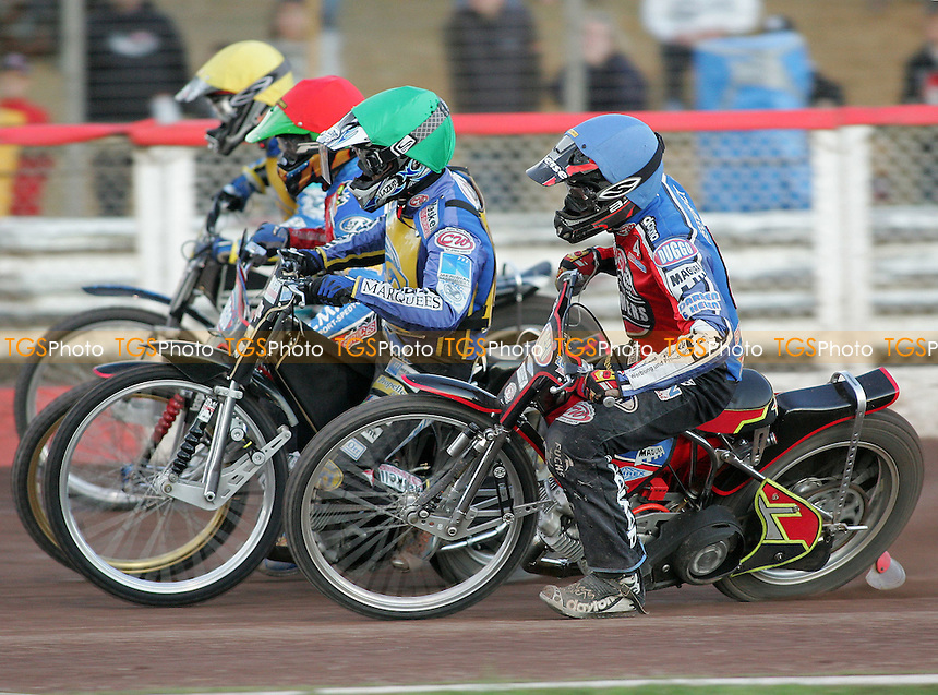 Heat 9 - Kasprzak (red), Norris (green), Hefenbrock, Andersson - Lakeside Hammers vs Eastbourne Eagles - Elite League Speedway at Arena Essex - 15/06/07 - MANDATORY CREDIT: Gavin Ellis/TGSPHOTO - SELF-BILLING APPLIES WHERE APPROPRIATE. NO UNPAID USE -  Tel: 0845 0946026