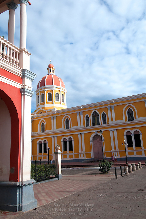 Cathedral as seen from Parque Colon (Central Plaza), Granada, Nicaragua