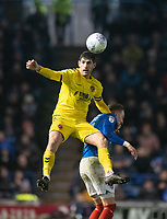 Fleetwood Town's Ched Evans (left) battles with Portsmouth's Ronan Curtis (right) <br /> <br /> Photographer David Horton/CameraSport<br /> <br /> The EFL Sky Bet League One - Portsmouth v Fleetwood Town - Tuesday 10th March 2020 - Fratton Park - Portsmouth<br /> <br /> World Copyright © 2020 CameraSport. All rights reserved. 43 Linden Ave. Countesthorpe. Leicester. England. LE8 5PG - Tel: +44 (0) 116 277 4147 - admin@camerasport.com - www.camerasport.com