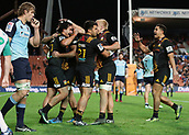 June 3rd 2017, FMG Stadium, Waikato, Hamilton, New Zealand; Super Rugby; Chiefs versus Waratahs;  Team mates congratulate Chiefs winger James Lowe on scoring this 3rd try during the Super Rugby rugby match