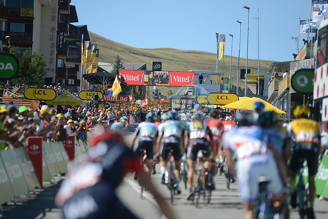 The grupetto head for the finish line at the end of Stage 20 of the 2015 Tour de France running 110.5km from Modane Valfrejus to Alpe d'Huez, France. 25th July 2015.<br /> Photo: ASO/X.Bourgois/Newsfile