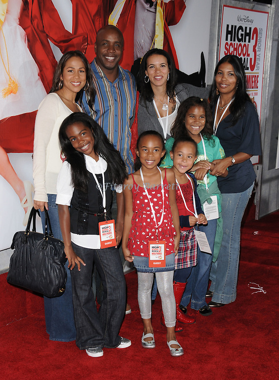 Barry Bonds with his family and friends arriving to the Los Angeles premiere for High School Musical 3 Senior Year, held at the Galen Center Los Angeles, Ca. October 16, 2008. Fitzroy Barrett
