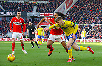 Leeds United's Jack Clarke takes on Middlesbrough's Ryan Shotton<br /> <br /> Photographer Alex Dodd/CameraSport<br /> <br /> The EFL Sky Bet Championship - Middlesbrough v Leeds United - Saturday 9th February 2019 - Riverside Stadium - Middlesbrough<br /> <br /> World Copyright © 2019 CameraSport. All rights reserved. 43 Linden Ave. Countesthorpe. Leicester. England. LE8 5PG - Tel: +44 (0) 116 277 4147 - admin@camerasport.com - www.camerasport.com