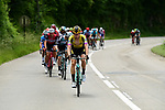 The 29 man breakaway group led by Lennard Hofstede (NED) Team Jumbo Visma in action during Stage 7 of the Criterium du Dauphine 2019, running 133.5km from Saint-Genix-les-Villages to Les Sept Laux - Pipay, France. 15th June 2019.<br /> Picture: ASO/Alex Broadway | Cyclefile<br /> All photos usage must carry mandatory copyright credit (© Cyclefile | ASO/Alex Broadway)