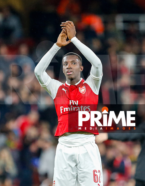 Scorer of both Arsenal goals Edward 'Eddie'  Nketiah of Arsenal at full time during the Carabao Cup match between Arsenal and Norwich City at the Emirates Stadium, London, England on 24 October 2017. Photo by Carlton Myrie.