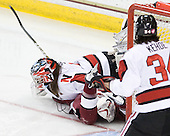 Leah Sulyma (NU - 1) - The Harvard University Crimson defeated the Northeastern University Huskies 4-3 (SO) in the opening round of the Beanpot on Tuesday, February 8, 2011, at Conte Forum in Chestnut Hill, Massachusetts.