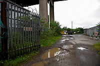 Pictured: The yard where an unidentified man was kept as a slave near Earlswood Cottages, Neath, Wales, UK. Thursday 13 June 2019<br /> Re: A father and son are due to be sentenced for keeping a man as a slave for two years by Swansea Crown Court, Wales, UK.<br /> Anthony Howard Baker, 49, and his son Harvey Baker, 19, from Jersey Marine, near Neath, were also jointly charged with six counts of causing actual bodily harm.