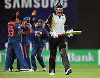 NZ's Jacob Oram walks after being caught for a golden duck during 2nd Twenty20 cricket match match between New Zealand Black Caps and West Indies at Westpac Stadium, Wellington, New Zealand on Friday, 27 February 2009. Photo: Dave Lintott / lintottphoto.co.nz