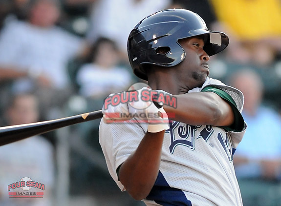 Photo of the Greenville Drive in a game against the Lexington Legends on May 2, 2012, at Fluor Field at the West End in Greenville, South Carolina. (Tom Priddy/Four Seam Images)