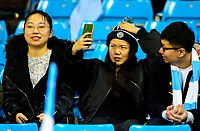 A Manchester City fan takes a selfie before the match<br /> <br /> Photographer Alex Dodd/CameraSport<br /> <br /> UEFA Champions League Group F - Manchester City v Shakhtar Donetsk - Wednesday 7th November 2018 - City of Manchester Stadium - Manchester<br />  <br /> World Copyright © 2018 CameraSport. All rights reserved. 43 Linden Ave. Countesthorpe. Leicester. England. LE8 5PG - Tel: +44 (0) 116 277 4147 - admin@camerasport.com - www.camerasport.com