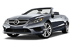 Low aggressive front three quarter view of a 2014 Mercedes E Class 350 Convertible