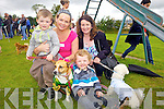 Nathan Smith from Castleisland, Catherine and Aaron Shanahan from Knocknagoshal and Mary O'Connor from Castleisland enjoying the dog show last Saturday in Knocknagoshel for the annual Harvest Festival.