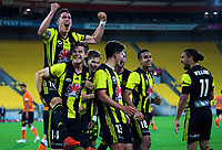 Phoenix players celebrate during the A-League football match between Wellington Phoenix and Brisbane Roar at Westpac Stadium in Wellington, New Zealand on Saturday, 22 December 2018. Photo: Dave Lintott / lintottphoto.co.nz