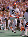 Cleveland Browns Matt Bahr (9) during a game from his 1986 season with the Browns. Matt Bahr played for 19 years with 6 different team and played on 3 Super Bowl winning teams.<br /> (SportPics)