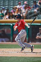 Auston Bousfield (32) of the El Paso Chihuahuas bats against the Salt Lake Bees at Smith's Ballpark on July 8, 2018 in Salt Lake City, Utah. El Paso defeated Salt Lake 15-6. (Stephen Smith/Four Seam Images)