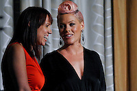 NEW YORK - JULY 12: (L to R) Honoree Amy Doyle and Pink on stage during the UJA-Federation Music Visionary of the Year Award Luncheon at the Pierre Hotel on July 12, 2012 in New York City. (Photo by MPI81/MediaPunchInc) /*NORTEPHOTO*<br />