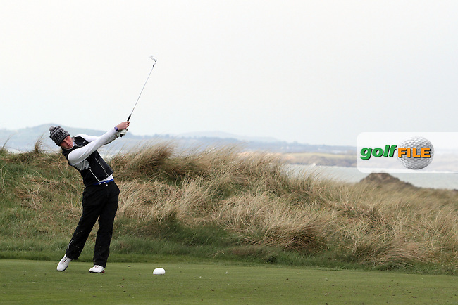 Harry Coyne (Carton House) on the 2nd tee during the Leinster Youths Amateur Open Championship in the European Club, Brittas Bay, Co.Wicklow. 27/3/13..(Photo Jenny Matthews/www.golffile.ie)