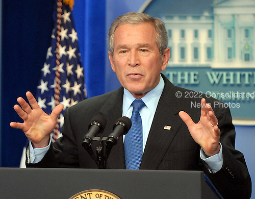 Washington, D.C. - September 20, 2007 -- United States President George W. Bush conducts a press conference in the Btady Briefing Room at the White House in Washington, D.C. on Thursday, September 20, 2007.   .Credit: Ron Sachs / CNP