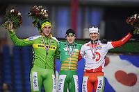 SCHAATSEN: HEERENVEEN: IJsstadion Thialf, 02-01-2013, Seizoen 2012-2013, KPN NK Mass-Start, eindpodium Heren, Gary Hekman (#92), Arjan Stroetinga (#15), Johan Knol (#22), ©foto Martin de Jong