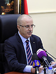 Palestinian Prime Minister Rami Hamdallah chairs a meeting of council of Ministers in the West Bank city of Ramallah on December 12, 2017. Photo by Prime Minister Office