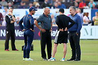 Umpires and captains in conversation about the condition of the outfield during Essex Eagles vs Gloucestershire, Vitality Blast T20 Cricket at The Cloudfm County Ground on 10th August 2018