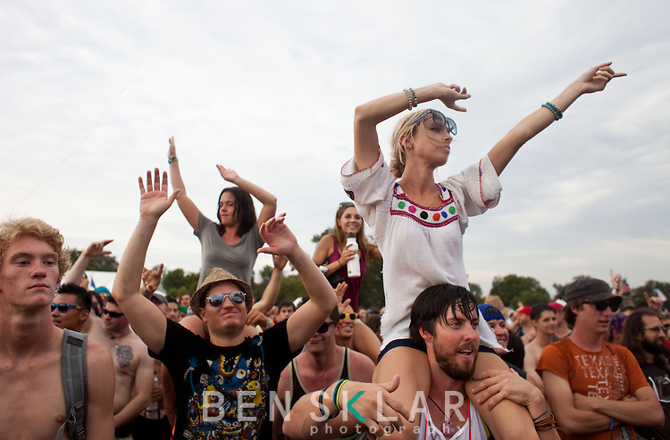 Fans watch Skrillex perform during the Austin City Limits Music Festival in Austin, Texas on Saturday, September 17, 2011. The three day festival sold out to a crowd of over 70,000 music goers...