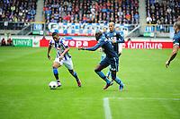 VOETBAL: HEERENVEEN: Abe Lenstra Stadion, SC Heerenveen - Feyenoord, 06-05-2012, Luciano Narsingh (#24), Bruno Martens Indi (#5), Karim El Ahmadi (#6) kijkt toe, Eindstand 2-3, ©foto Martin de Jong