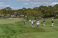 Bill Haas (USA), Joel Dahmen (USA), and Thorbjorn Olesen (DEN) head down 3 during round 1 of the Arnold Palmer Invitational at Bay Hill Golf Club, Bay Hill, Florida. 3/7/2019.<br /> Picture: Golffile | Ken Murray<br /> <br /> <br /> All photo usage must carry mandatory copyright credit (&copy; Golffile | Ken Murray)