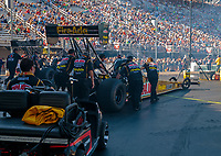 Jun 15, 2018; Bristol, TN, USA; Crew members for NHRA top fuel driver Leah Pritchett during qualifying for the Thunder Valley Nationals at Bristol Dragway. Mandatory Credit: Mark J. Rebilas-USA TODAY Sports