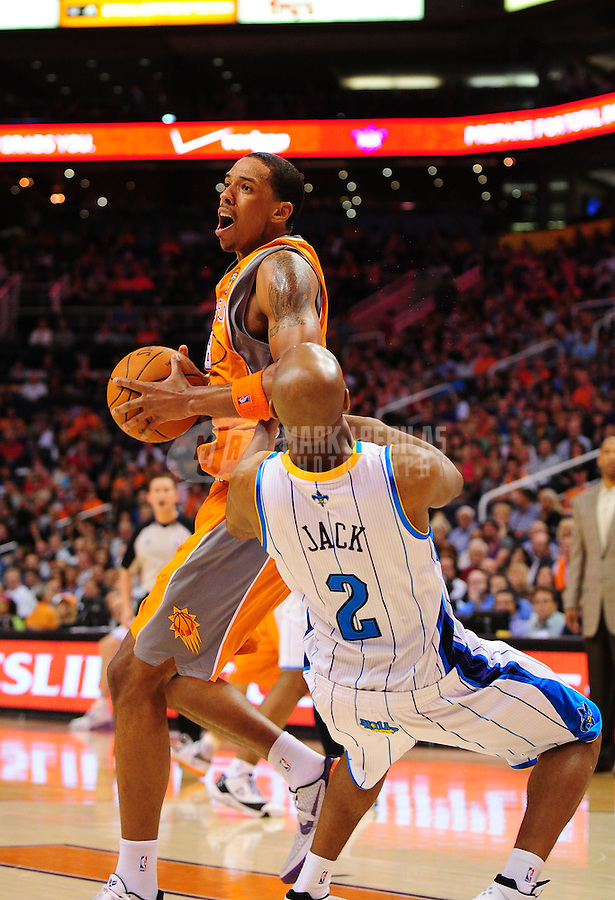 Mar. 25, 2011; Phoenix, AZ, USA; Phoenix Suns center (8) Channing Frye against the New Orleans Hornets at the US Airways Center. The Hornets defeated the Suns 106-100. Mandatory Credit: Mark J. Rebilas-.