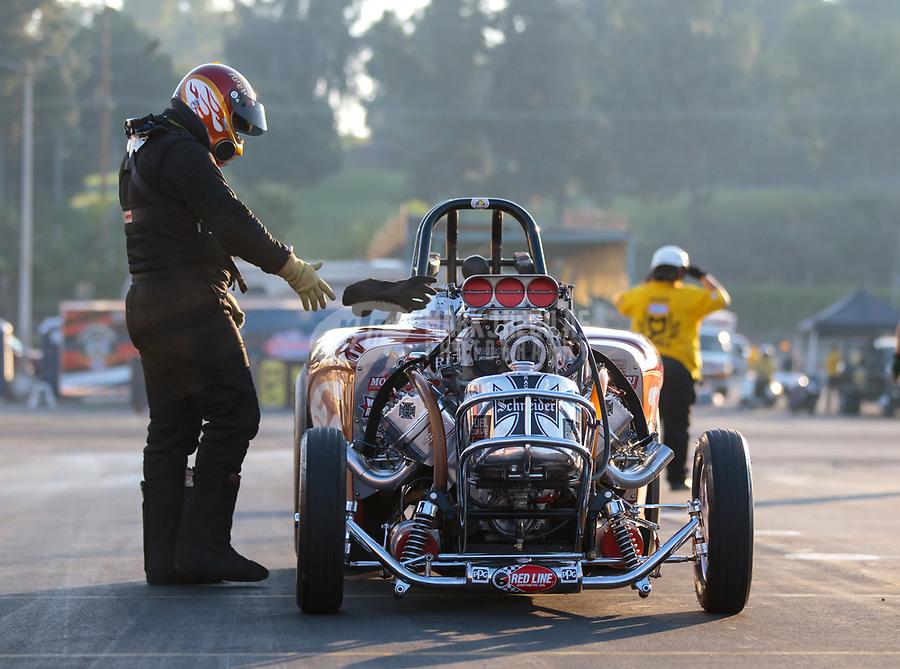 Nov 11, 2018; Pomona, CA, USA; NHRA AA fuel altered driver XXXX during the Auto Club Finals at Auto Club Raceway. Mandatory Credit: Mark J. Rebilas-USA TODAY Sports