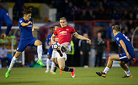 Ethan Hamilton of Manchester United controls the ball during the U23 Premier League 2 match between Chelsea and Manchester United at the EBB Stadium, Aldershot, England on 18 September 2017. Photo by Andy Rowland.