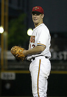 June 17, 2004:  First baseman Justin Morneau (33) of the Rochester Red Wings, Triple-A International League affiliate of the Minnesota Twins, during a game at Frontier Field in Rochester, NY.  Photo by:  Mike Janes/Four Seam Images