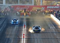 Feb 23, 2019; Chandler, AZ, USA; NHRA funny car driver Phil Burkhart (right) alongside Jeff Diehl during qualifying for the Arizona Nationals at Wild Horse Pass Motorsports Park. Mandatory Credit: Mark J. Rebilas-USA TODAY Sports