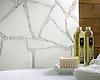 Path custom bathroom mosaic backsplash in Thassos, and Calacatta Tia honed
