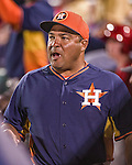 10 March 2014: Houston Astros third base coach Pat Listach walks the dugout during a Spring Training game against the Washington Nationals at Space Coast Stadium in Viera, Florida. The Astros defeated the Nationals 7-4 in Grapefruit League play. Mandatory Credit: Ed Wolfstein Photo *** RAW (NEF) Image File Available ***