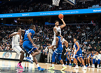 WASHINGTON, DC - FEBRUARY 05: Jahvon Blair #0 of Georgetown goes over Quincy McKnight #0 of Seton Hall for a shot during a game between Seton Hall and Georgetown at Capital One Arena on February 05, 2020 in Washington, DC.