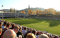 A general view of the Recreation Ground pitch during the match. Aviva Premiership match, between Bath Rugby and Harlequins on October 31, 2015 at the Recreation Ground in Bath, England. Photo by: Robbie Stephenson / JMP for Onside Images