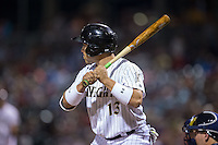 Carlos Sanchez (13) of the Charlotte Knights at bat against the Lehigh Valley Iron Pigs at BB&T BallPark on June 3, 2016 in Charlotte, North Carolina.  The Iron Pigs defeated the Knights 6-4.  (Brian Westerholt/Four Seam Images)