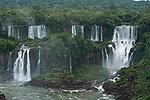 Iguazu Falls National Park in Argentina, as viewed from Brazil.  A UNESCO World Heritage Site.  Pictured from left to right are Bernabe Mendez, Adam and Eve, and Bossetti Falls.